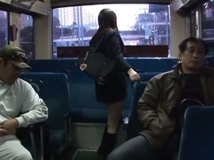 Legal Age Teenager Japanese school gal with large boobs in uniform Yayoi Yoshino gets her shaved slit licked and stimulated by sex toys in a gang bang session with lots of turned on aged guys in the school bus during the time that this babe's manacled to the holding bar moaning